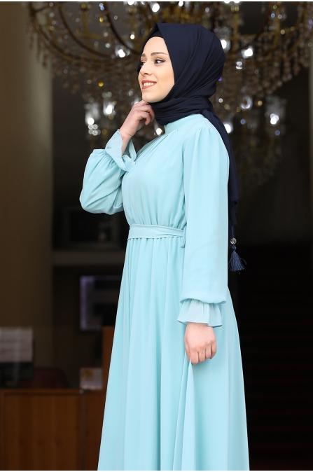 Şura Büzgülü Tesettür Elbise - Mint