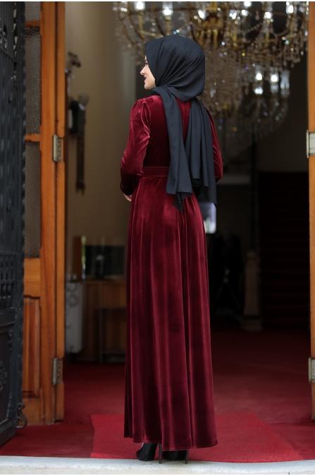 Tutku Kadife Tesettür Elbise - Bordo