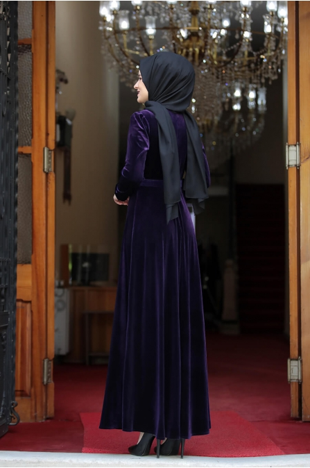 Tutku Kadife Elbise - Mor - Amine Hüma