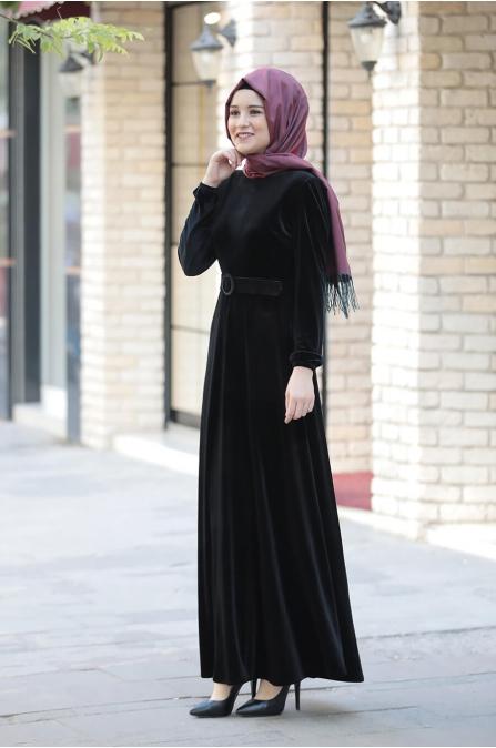 Tutku Kadife Elbise - Siyah - Amine Hüma