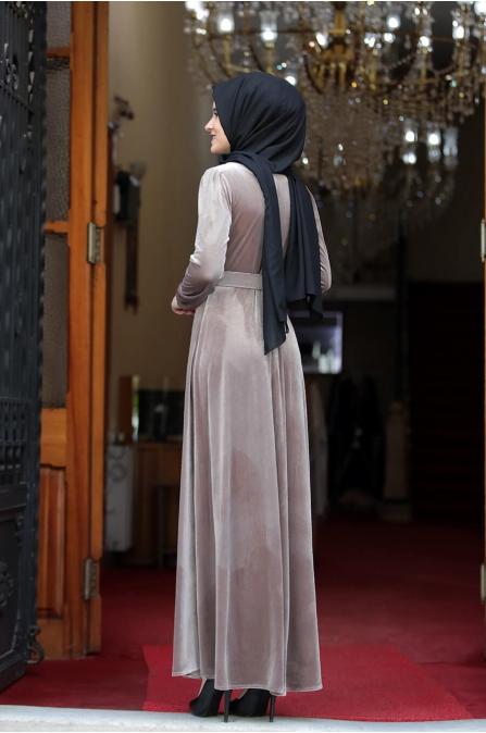 Tutku Kadife Elbise - Vizon - Amine Hüma