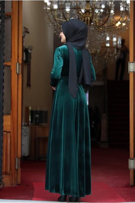 Tutku Kadife Elbise - Zümrüt - Amine Hüma