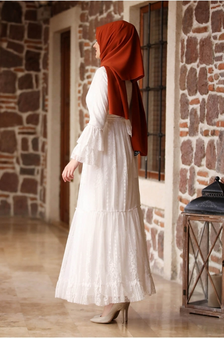 Yağmur Elbise - Ekru - Amine Hüma