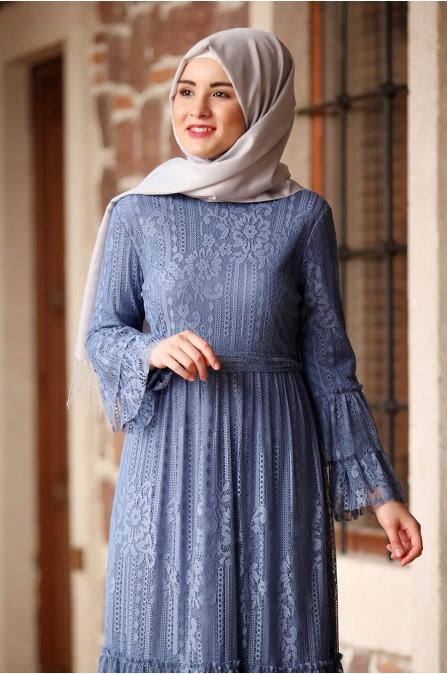 Yağmur Elbise - İndigo - Amine Hüma