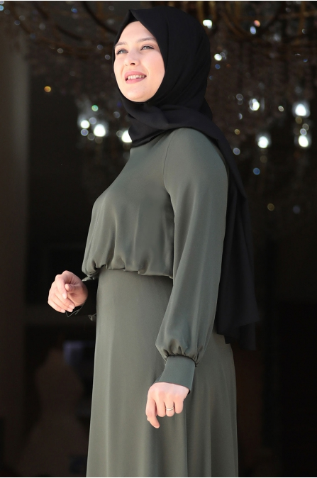 Yankı Elbise - Haki - Amine Hüma