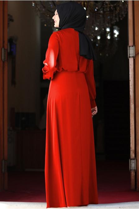Yankı Elbise - Kiremit - Amine Hüma