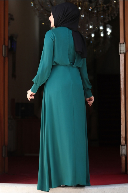 Yankı Elbise - Zümrüt - Amine Hüma