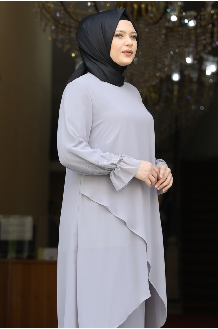 Azra Tunik Pantolon İkili Takım - Gri