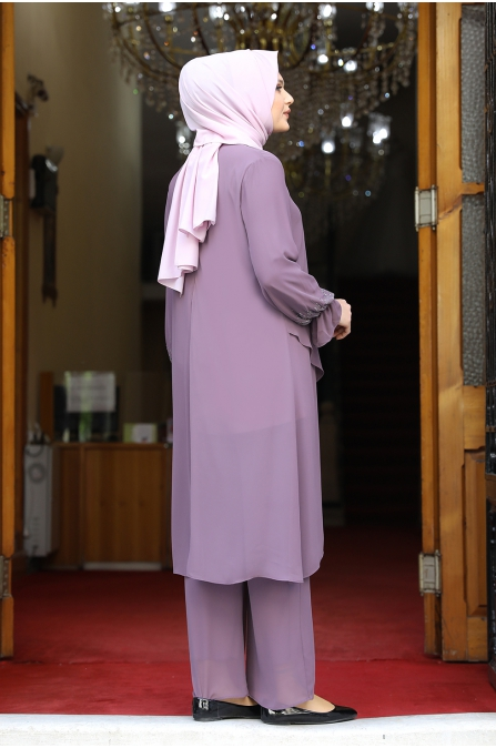 Azra Tunik Pantolon İkili Takım - Gül Kurusu