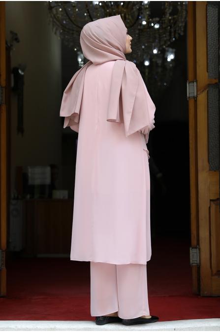 Azra Tunik Pantolon İkili Takım - Pudra
