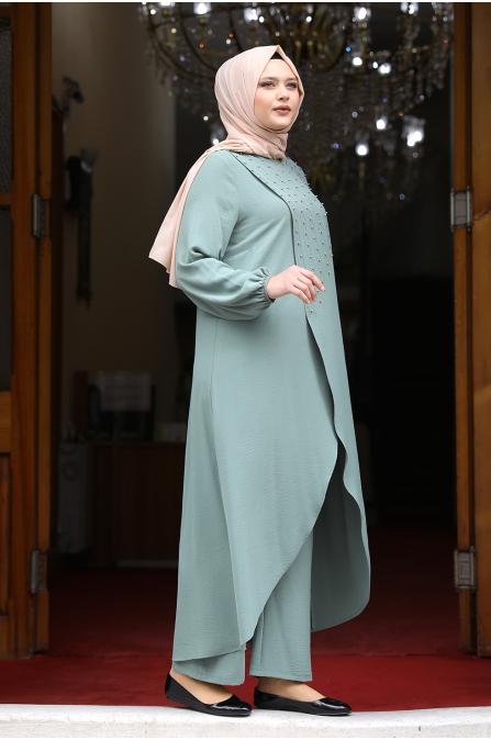 İncili Tunik Pantolon Takım - Mint