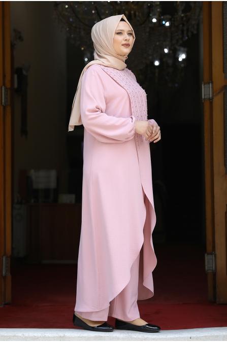 İncili Tunik Pantolon Takım - Pudra