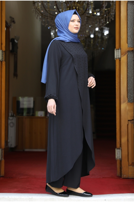 İncili Tunik Pantolon Takım - Siyah