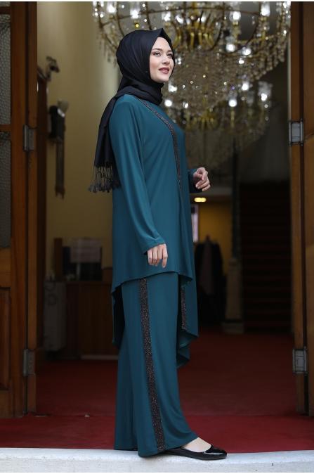 Sim Şerit Tunik Pantolon Takım - Koyu Yeşil