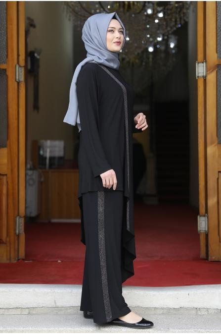 Sim Şerit Tunik Pantolon Takım - Siyah
