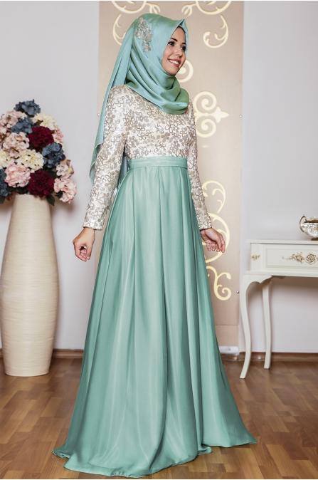 Çiçekli Abiye Mint - An Nahar