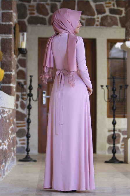Fiyonklu Pudra  Elbise -  An Nahar