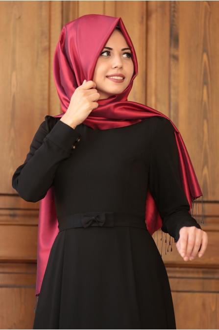 Fiyonklu Siyah Elbise -  An Nahar