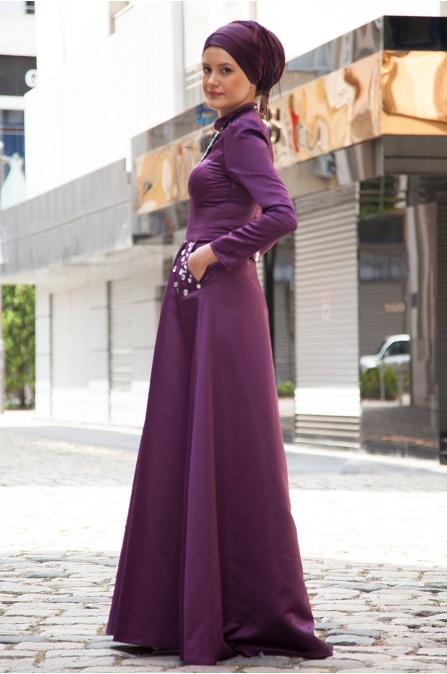 Azra Özer - Elegant Abiye - Mürdüm
