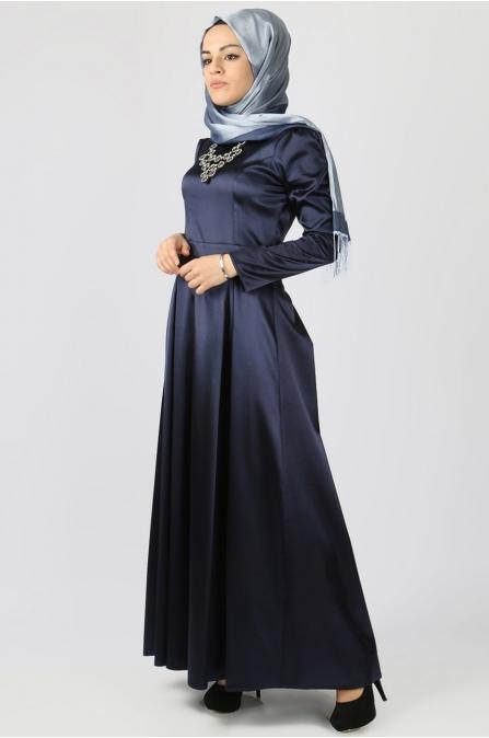 Azra Özer - Elegant Elbise - Lacivert
