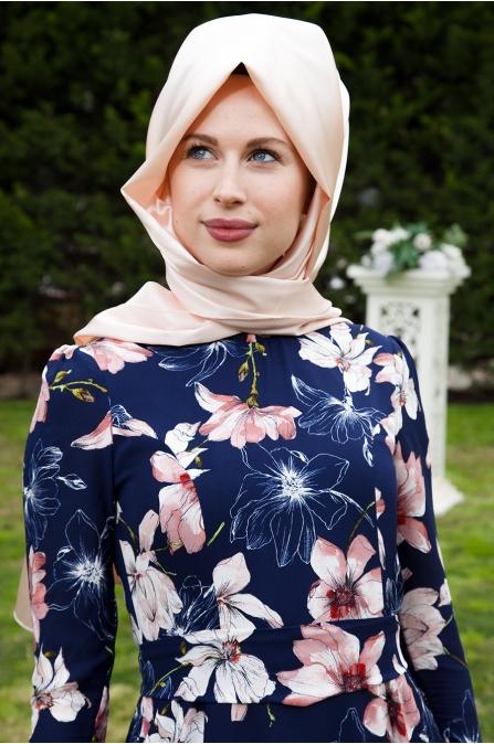 Azra Özer - Firuze Elbise Çiçekli