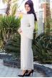 Azra Özer - Kuğu Dantel Elbise - Ekru