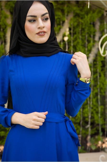 Azra Özer - Nervürlü Elbise - Saks