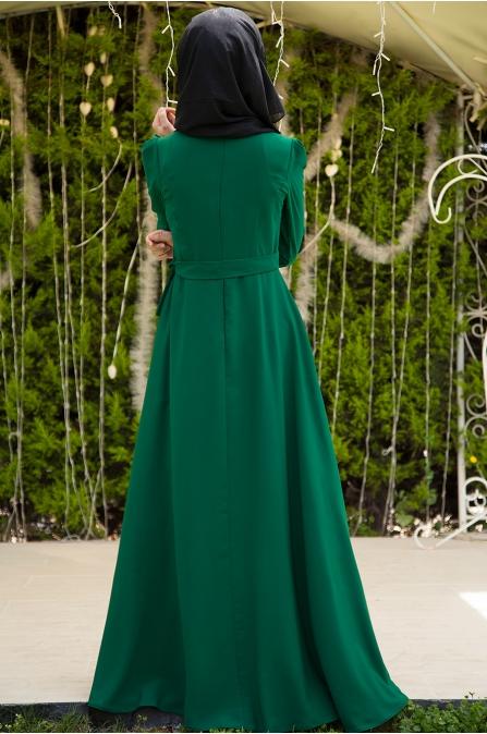 Azra Özer - Nervürlü Elbise - Zümrüt