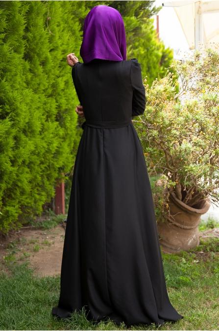 Nervürlü Elbise - Siyah