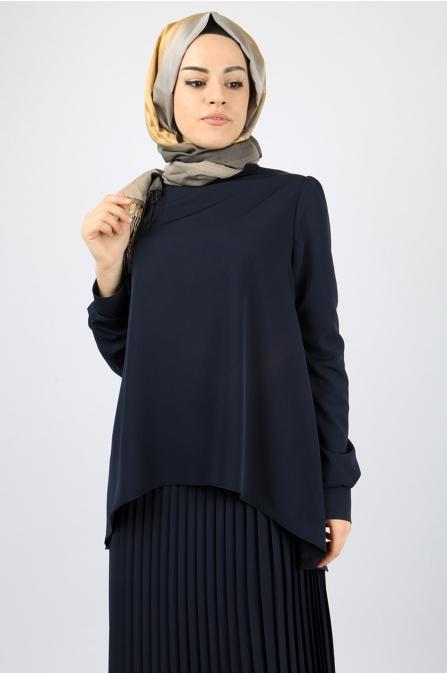 Azra Özer - Piliseli Etek Bluz Takım - Lacivert