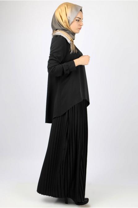 Azra Özer - Piliseli Etek Bluz Takım - Siyah