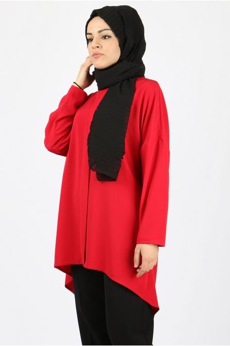 Hira Yarasa Kol Tunik - Kırmızı