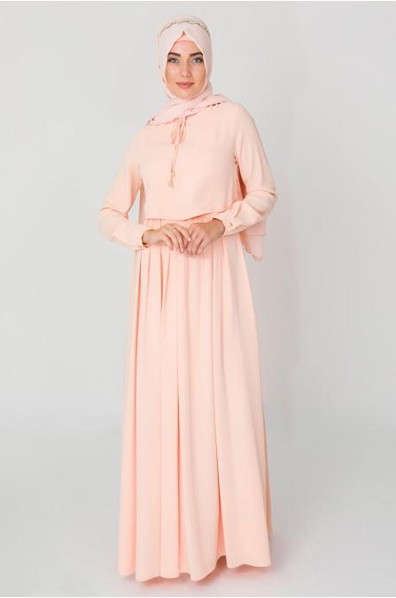 Bolero Görünümlü Yaka Detaylı Elbise - Pudra