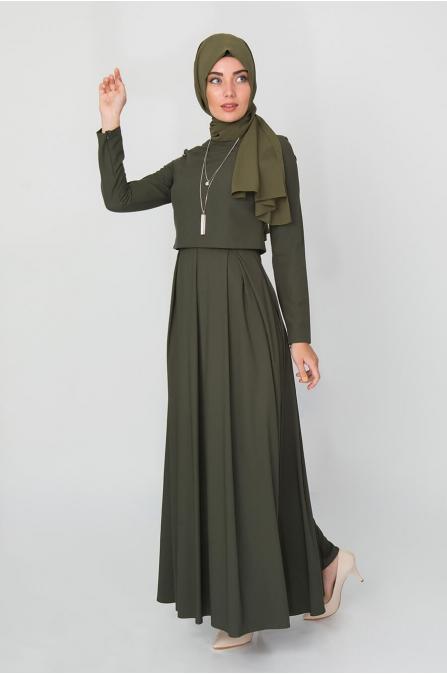 Bolero Görünümlü Elbise - Haki