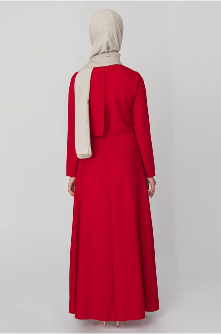 Bolero Görünümlü Elbise - Kırmızı