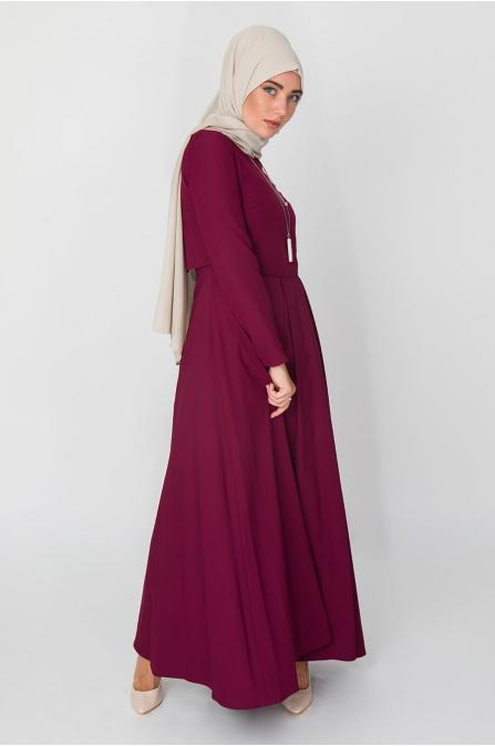 Bolero Görünümlü Elbise - Mürdüm