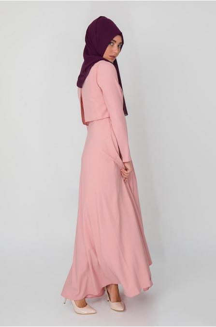 Bolero Görünümlü Elbise - Pudra