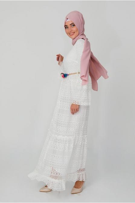 Çiçek Kemerli Dantel Elbise - Ekru