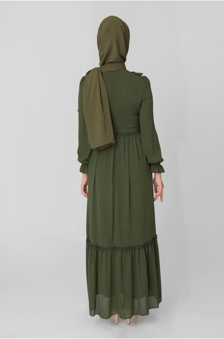 Fırfırlı Elbise - Haki