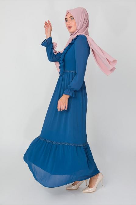 Fırfırlı Elbise - İndigo