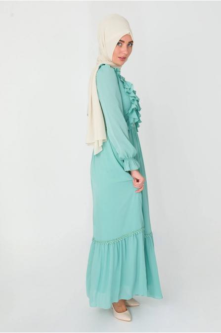 Fırfırlı Elbise - Mint