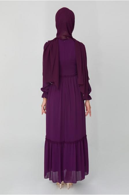 Fırfırlı Elbise - Mürdüm