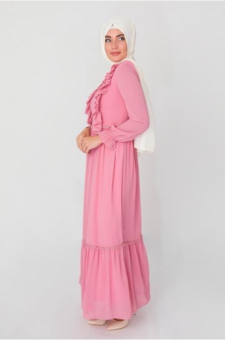 Fırfırlı Elbise - Pudra