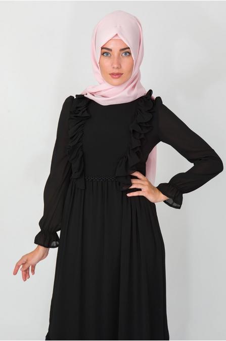 Fırfırlı Elbise - Siyah