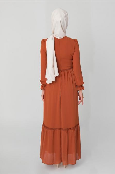 Fırfırlı Elbise - Taba