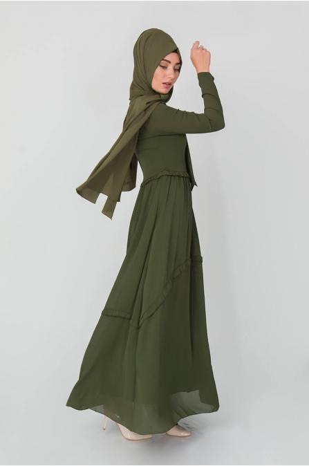 Fiyonklu Elbise - Haki