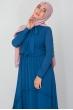 Fiyonklu Elbise - İndigo