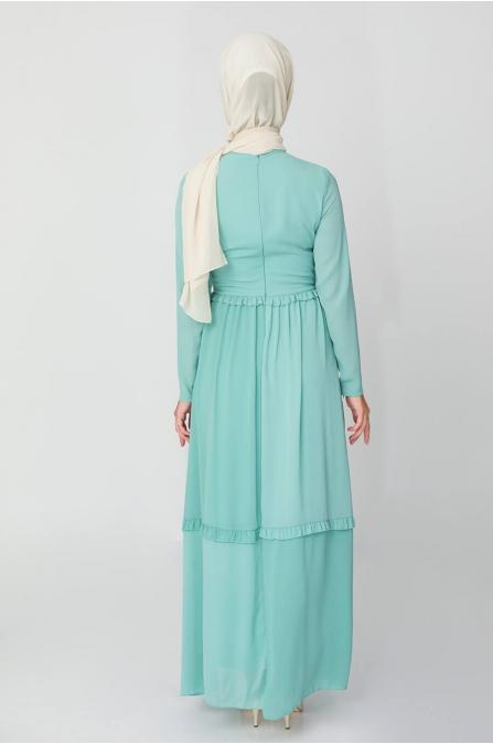 Fiyonklu Elbise - Mint