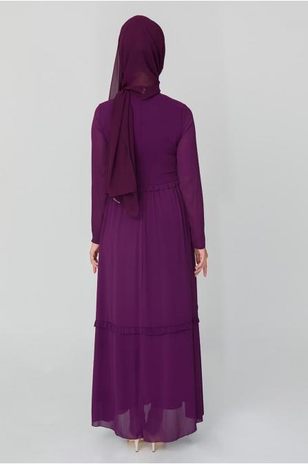 Fiyonklu Elbise - Mürdüm