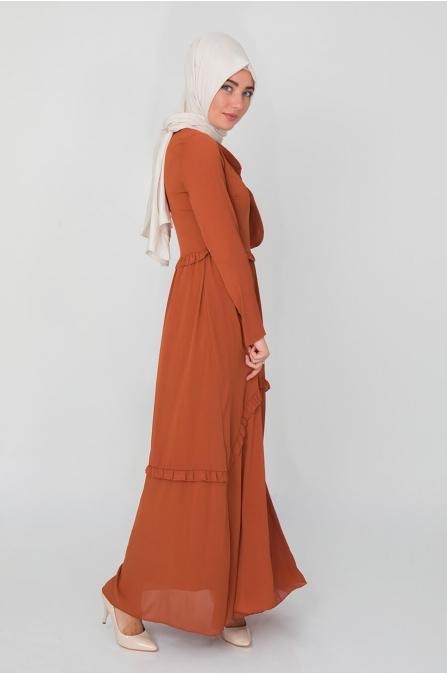 Fiyonklu Elbise - Taba